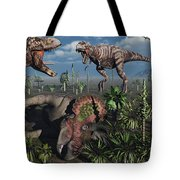 Two T. Rex Dinosaurs Confront Each Tote Bag by Mark Stevenson