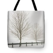 Two Trees And Fence In Winter Fog Tote Bag