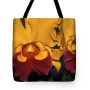 Two Yellow And Red Orchids Tote Bag