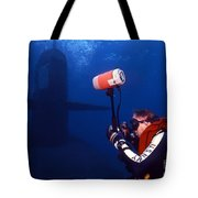 Underwater Photographer Takes Photos Tote Bag by Michael Wood