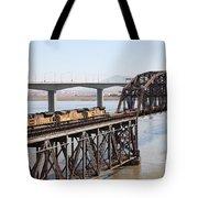 Union Pacific Locomotive Trains Riding Atop The Old Benicia-martinez Train Bridge . 5d18850 Tote Bag