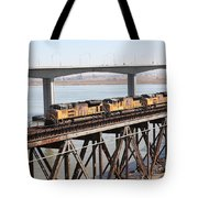 Union Pacific Locomotive Trains Riding Atop The Old Benicia-martinez Train Bridge . 5d18851 Tote Bag
