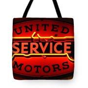 United Motors Service Neon Sign Tote Bag