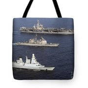 U.s. And French Navy Ships Transit Tote Bag