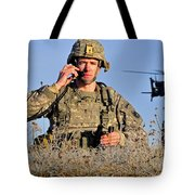 U.s. Army Captain Directs An Ah-64 Tote Bag