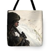 U.s. Army Captain Looks Out The Door Tote Bag