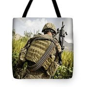 U.s. Army Mk48 Machine Gunner Patrols Tote Bag