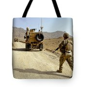 U.s. Army Soldier Moves To His Mrap Tote Bag