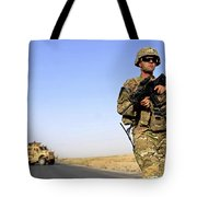 U.s. Army Soldier On Patrol Tote Bag