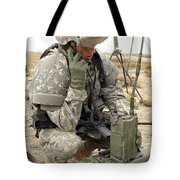 U.s. Army Soldier Performs A Radio Tote Bag by Stocktrek Images