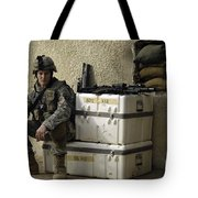 U.s. Army Soldier Relaxing Before Going Tote Bag