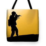 U.s. Army Soldier Secures An Area Tote Bag