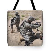 U.s. Army Soldier Sets Up A Satellite Tote Bag