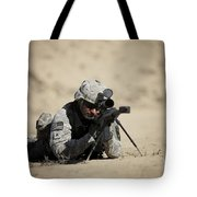 U.s. Army Soldier Sights In A Barrett Tote Bag