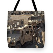 U.s. Army Soldier Speaks With Iraqi Tote Bag by Stocktrek Images
