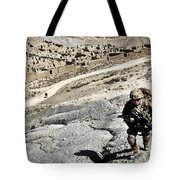 U.s. Army Soldiers And Afghan Border Tote Bag