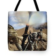 U.s. Army Soldiers Firing A 120mm Tote Bag