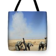 U.s. Army Soldiers Firing An M120 120mm Tote Bag by Stocktrek Images