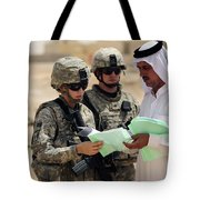 U.s. Army Soldiers Talking With A Town Tote Bag by Stocktrek Images