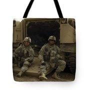 U.s. Army Soldiers Waiting At Patrol Tote Bag