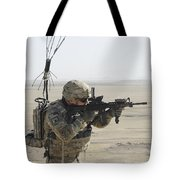 U.s. Army Specialist Scans His Area Tote Bag