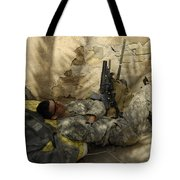 U.s. Army Specialist Takes A Nap Tote Bag
