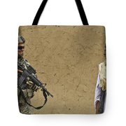 U.s. Army Specialist Talks To An Afghan Tote Bag