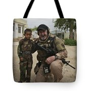 U.s. Contractor Poses For A Picture Tote Bag