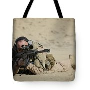 U.s. Contractor Sights In A Barrett Tote Bag