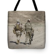 U.s. Marine And German Soldier Walk Tote Bag