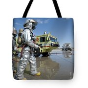 U.s. Marine Firefighters Stand Ready Tote Bag