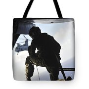 U.s. Marine Looks Out The Back Tote Bag