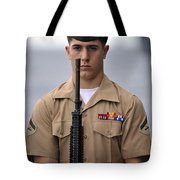 U.s. Marine Presents Arms During An Tote Bag