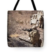 U.s. Marine Scans His Area While Tote Bag