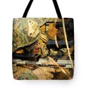 U.s. Marine Uses A Spotting Scope Tote Bag