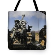 U.s. Marines Fire An M777 Howitzer Tote Bag