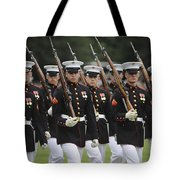 U.s. Marines March By During The Pass Tote Bag