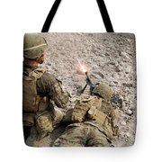U.s. Marines Provide Suppressive Fire Tote Bag