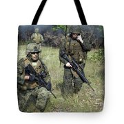 U.s. Marines Secure A Perimeter Tote Bag