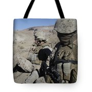 U.s. Marines Take A Break Tote Bag