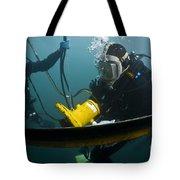 U.s. Navy Diver Instructs A Barbados Tote Bag