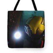 U.s. Navy Diver Welds A Repair Patch Tote Bag