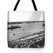 U.s. Navy In The Hudson River Tote Bag