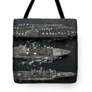U.s. Navy Ships Conduct A Replenishment Tote Bag