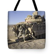 U.s. Soldiers Exit From An M2 Bradley Tote Bag