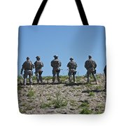 U.s. Soldiers Looking Over The Side Tote Bag