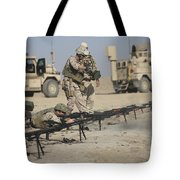 U.s. Soldiers Prepare To Fire Weapons Tote Bag by Terry Moore
