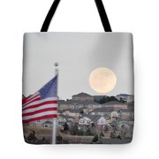 Usa Flag And Moon Tote Bag