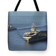 Uss Abraham Lincoln And French Navy Tote Bag