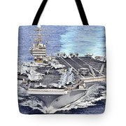 Uss Abraham Lincoln Transits Tote Bag